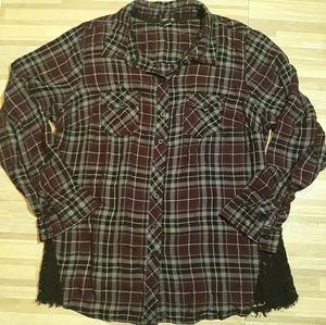 Torrid Plaid Lace Inset Camp Shirt Sz 1